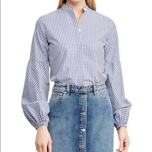 Lauren Ralph Lauren Plaid Puff-Sleeve Cotton Top